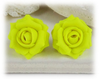 Yellow Neon Rose Earrings Stud or Clip On - Fluorescent Yellow Jewelry
