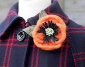 Wool Poppy Brooch Orange Poppy Pin