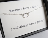 TWO DAY SALE Knot Necklace with Message Card Set// Necklace for Sister// Best Friend//Sterling Silver or Gold Filled Tiny Knot Necklace/Wedd
