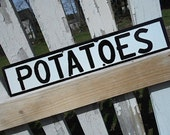 Vintage porcelain enamel sign POTATOES, double sided sign, small - farmers market rural decor primitive