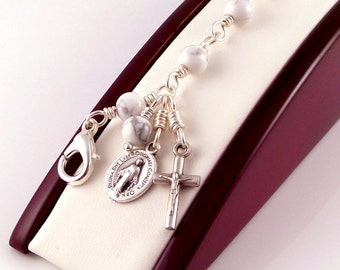 Virgin Mary Miraculous Medal Rosary Bracelet in White Magnesite by Unbreakable Rosaries