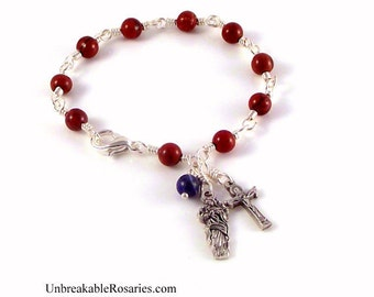 Virgin Mary Untier of Knots Rosary Bracelet In Red Jasper by Unbreakable Rosaries