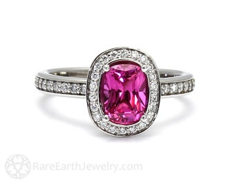 Hot Pink Sapphire Ring Cushion Pink Sapphire Engagement Ring in 14K 18K Gold with Diamond Halo Custom Pink Gemstone Ring