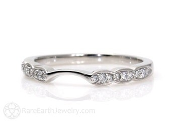 Matching Diamond Wedding Band for Palladium Asscher and Round Halo Engagement Rings