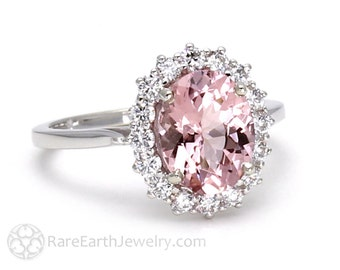 Morganite Engagement Ring Pink Morganite Ring Conflict Free Diamonds Oval Cluster Wedding Ring