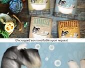 Schnauzer dog bath soap Company artwork on wooden canvas panel by Stephen Fowler