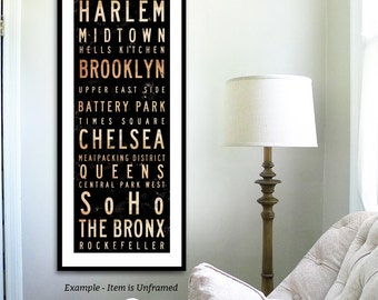New York City Neighborhoods typography unframed giclee archival print by Stephen Fowler