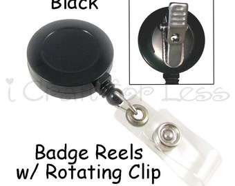 50 ID Badge Clip / Holder / Reels with Rotating Clip and Plastic Strap - Black - SEE COUPON