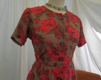 Vintage Shirtwaist Dress sheer floral vintage 50s Pleated dress Pink Roses Print 50s vintage toffee Brown shirtwaist button front dress M L