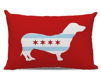 Chicago Flag Dachshund Pillow - Dachshund Lumbar Pillow - Chicago Flag Pillow - dachshund silhouette pillow - Chicago Dog Pillow