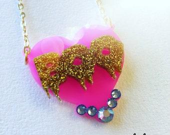BOO HEART swarovski hot pink n gold glitter laser cut acrylic necklace