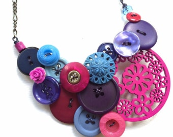 Blue Magenta Big Chunky Vintage Button Statement Bib Necklace - ooak