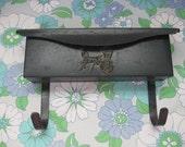 Vintage Black Metal Mailbox with Newspaper holder