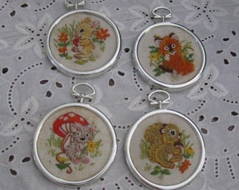 Vintage Forest Animal Embroidered Wall Hangings