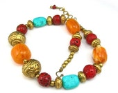 """Bohemian Beaded Necklace, Statement Necklace, Orange Red Light Blue Chunky Beads 18""""-20"""" Long, Tribal"""