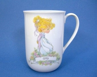 AMY Precious Moments China Cup, 8 oz Capacity Name Mug, Vintage 1989 Collectible, With Meaning of the Name