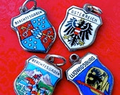 Vintage Travel Shield Enamel Charms - 800 REU Silver - Germany and Austria - Choose 1