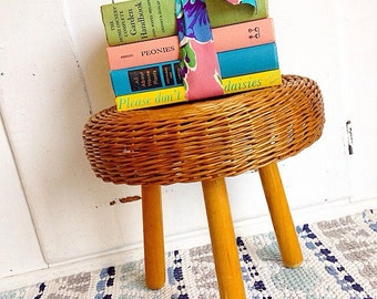 Put Your Feet Up... Vintage Mid Century Modern Tony Paul Style Wicker Rattan Ottoman Footstool Stool Tripod Legs Home Decor