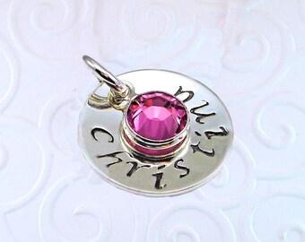 "Personalized charm, sterling silver, swarovski birthstone crystal, 5/8"" disk"