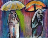 original art  aceo drawing april showers bunny rainy scene