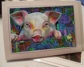 greeting card piggy piggy colorful zentangle card