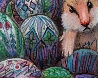 original aceo art color  pencil drawing hamster and eggs