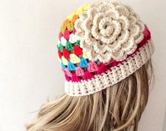 "Handmade Rainbow Granny Crochet Beanie, Boho ""Chunky """