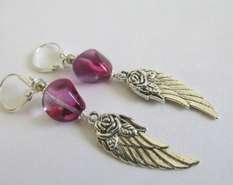 Angel Wing Earrings - Cranberry/Violet