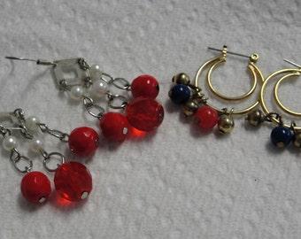 Lot of Red Beaded Pierced Earrings