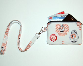 Wallet Zipper Pouch with Removable Lanyard - Cell Phone Pouch / iPhone Pouch / ID Holder - Handcrafted from Star Wars BB8 Fabric