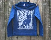 Midnight Wolf Long Sleeve Dark Blue Child Tee sizes 4, 6, 8, 10 & 12
