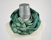 Hops circle scarf, infinity scarf, cowl, beer lover, beer for her, hop cones, organic cotton, bamboo, earth friendly fabrics