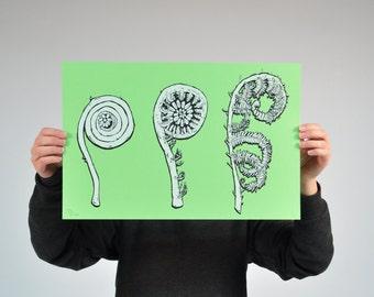 Fiddlehead Screenprint fern plant art wall art paper print spring