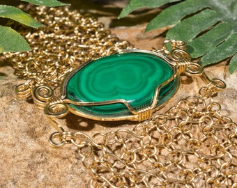 Malachite and Wire Wrap Bracelet - Gold Filled