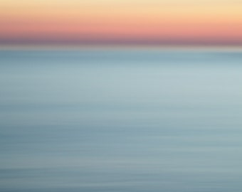 Abstract Sunset Beach Picture - Inspiring Picture - Pink Sunset - Abstract Art Blue Lake House Decor - Lake Huron Landscape Photograph