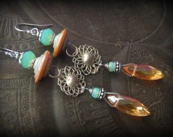 Gypsy, Bohemian, Apricot, Lampwork Glass, Banjara- Kuchi, Earthy, Ethereal, Primitive, Organic, Rustic, Silver, Beaded, Hoop, Earrings
