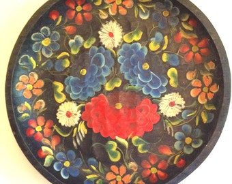 Classic large Mexican wood tray handpainted