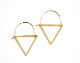 Triangle Cutout Hoop Earrings - Gold or Silver