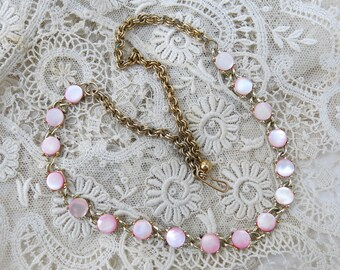 Vintage Pink Mother of Pearl Choker Necklace ... MOP Shell Links ... Shabby Chic Jewelry