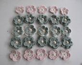 Crochet flowers,Crochet Applique Flowers ,25 pcs,mint green,powder pink