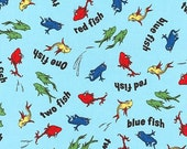 Dr Seuss fabric, Celebrate Seuss fabric, One fish Two Fish fabric, Book fabric, Cotton fabric by the yard, Quilt fabric, Choose your cut