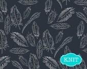 KNIT fabric, Tribal Baby Leggings Fabric, Feather, Feather Crib Bedding fabric, Boho Baby Quilt fabric, Jersey Knit, Panache Profundo Navy