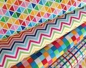 Rainbow Remix, Plaid fabric, Plus fabric, Geometric fabric, Chevron fabric, Fabric bundle of 5, Choose the Cut, Free Shipping Available