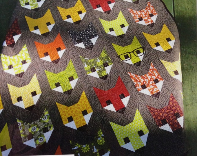 20% off, Fancy Fox Quilt Pattern by Elizabeth Hartman, Fox Quilt, Woodland Animals Quilt, Quilt swap, Fabric Shoppe Free Shipping Available