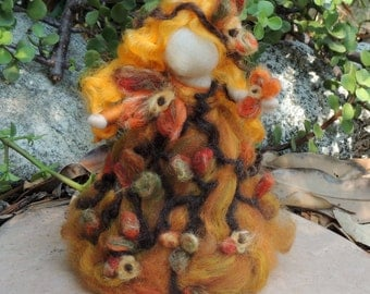 The Autumn Fairy Maiden from the woods - Waldorf-inspired needle felted standing doll soft sculpture by Rebecca Varon