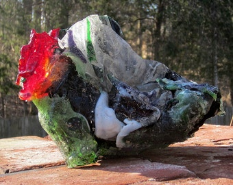 Stained Glass Slab Sculpture Chunk Salvaged from Fire Black White Green Red
