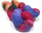 Hand Dyed Yarn – Superwash Merino Wool Cashmere Nylon MCN Sock Yarn  - Purple, Red, Green, Orange - 400 Yards – Fingering Weight Yarn
