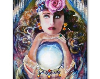 Embellished, enhanced Print,Beautiful fortune teller, crystal ball,