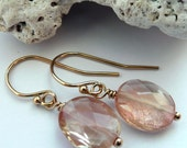 Handcrafted Artisan Oregon Sunstone Schiller 14kt Gold Fill OOAK Dainty Sparkly Boho Minimalist Gift for Her Dangle Drop Earrings