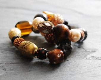 Beaded Bracelets, Stretch Bracelets, Bracelet Set, Chunky Bracelet, Statement Bracelets, For Her, Kollage Cocoa Beaded Stretch Bracelet Set
